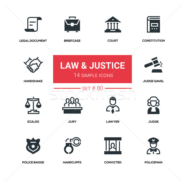 Law and justice - line design silhouette icons set Stock photo © Decorwithme
