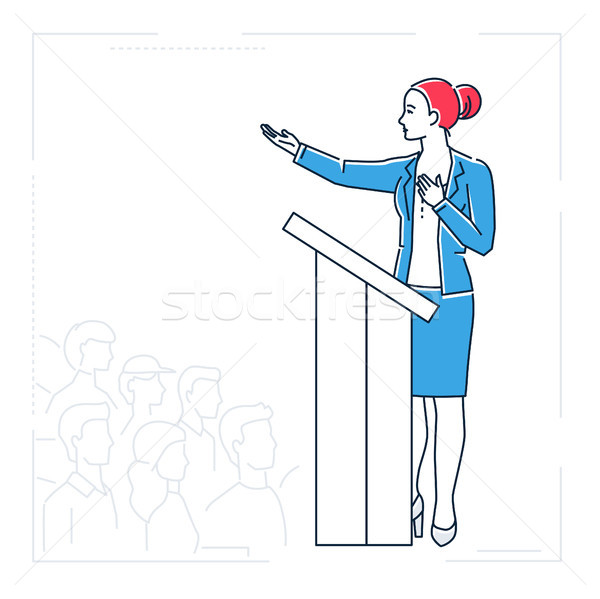 Businesswoman speaking from a platform - line design style isolated illustration Stock photo © Decorwithme