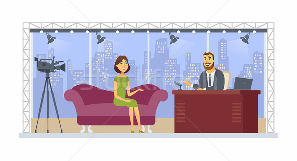Entertainment talk show - cartoon people character isolated illustration Stock photo © Decorwithme