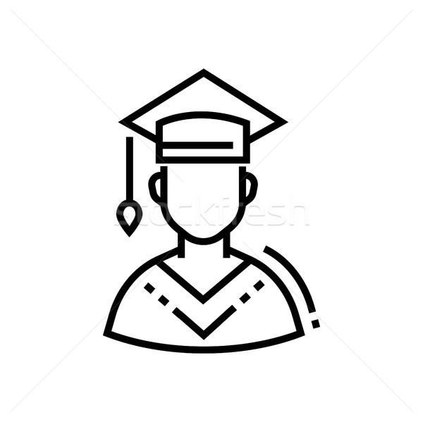 Male student - line design single isolated icon Stock photo © Decorwithme