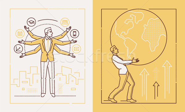 Hard working businessman - set of line design style illustrations Stock photo © Decorwithme