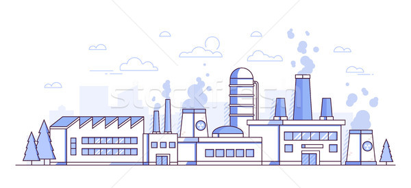 City factory - modern thin line design style vector illustration Stock photo © Decorwithme