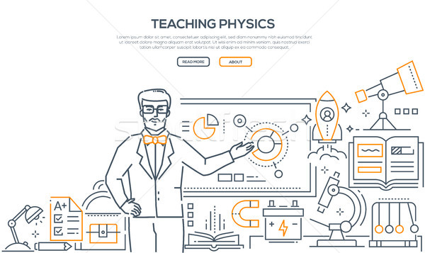 Teaching Physics - colorful line design style banner Stock photo © Decorwithme