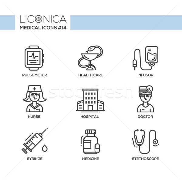 Geneeskunde dun lijn ontwerp iconen pictogrammen Stockfoto © Decorwithme