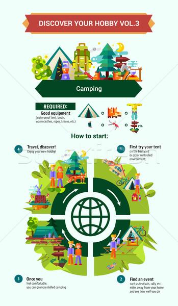 Camping escursioni poster brochure coprire modello Foto d'archivio © Decorwithme