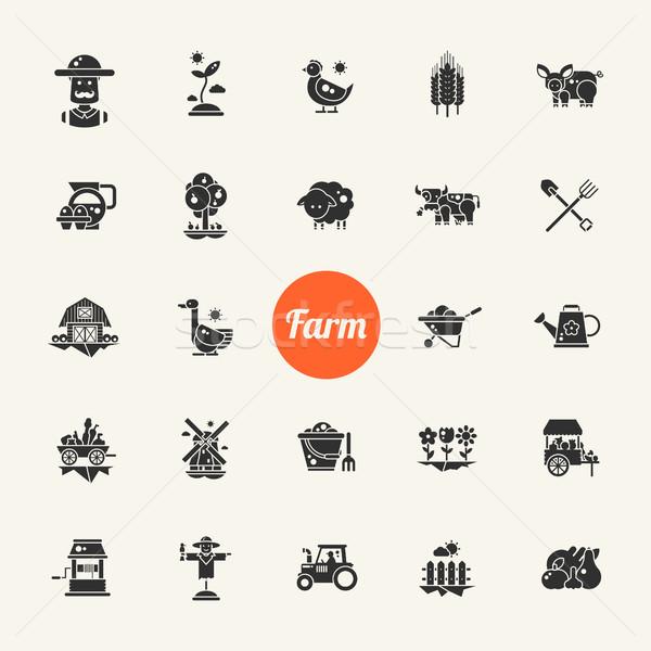 набор фермы сельского хозяйства дизайна иконки пиктограммы Сток-фото © Decorwithme