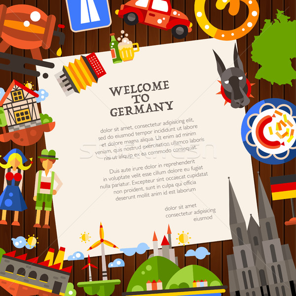 Almanya seyahat kartpostal şablon ünlü semboller Stok fotoğraf © Decorwithme