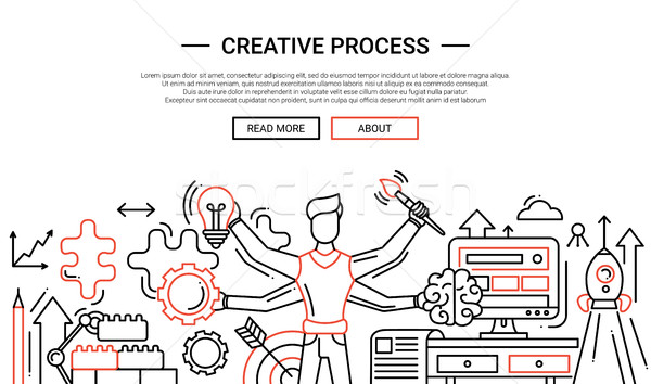 Stock photo: Creative Process - line design website banner temlate