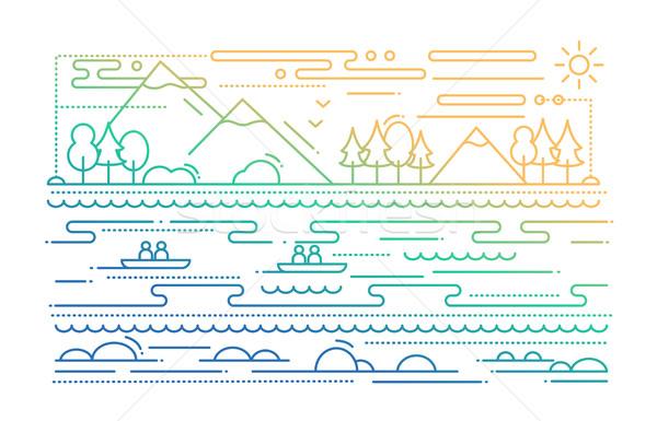 Eau tourisme ligne design illustration couleur Photo stock © Decorwithme