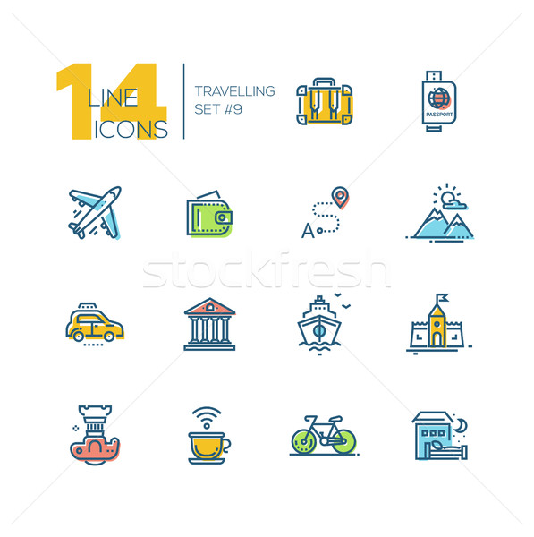 Traveling - thick line icons set Stock photo © Decorwithme
