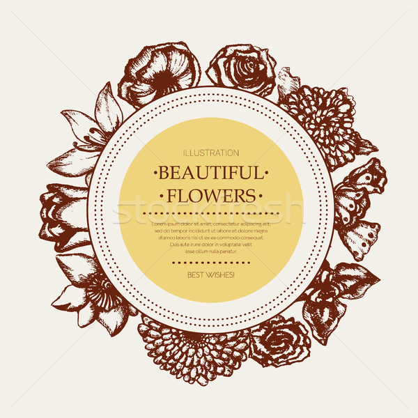 Beautiful Flowers - monochromatic hand drawn round banner. Stock photo © Decorwithme