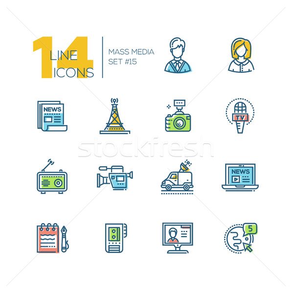 Mass media - colored modern single line icons set Stock photo © Decorwithme
