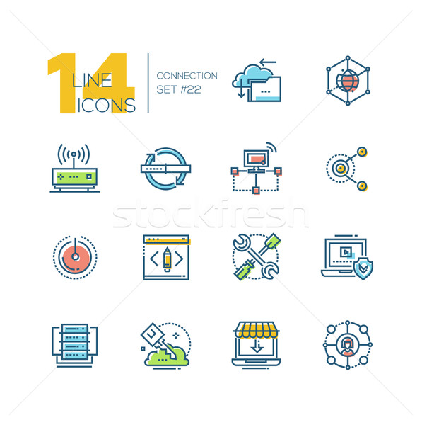 Connection - colored modern single line icons set. Stock photo © Decorwithme