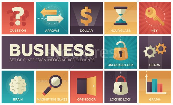 Business ingesteld ontwerp infographics communie vierkante Stockfoto © Decorwithme