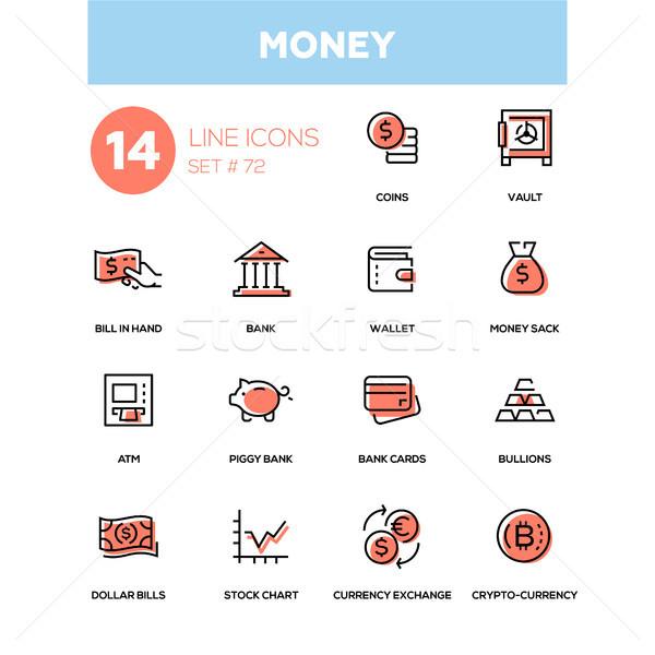 Money - line design icons set Stock photo © Decorwithme