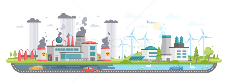 Polluted and eco area - modern flat design style vector illustration Stock photo © Decorwithme