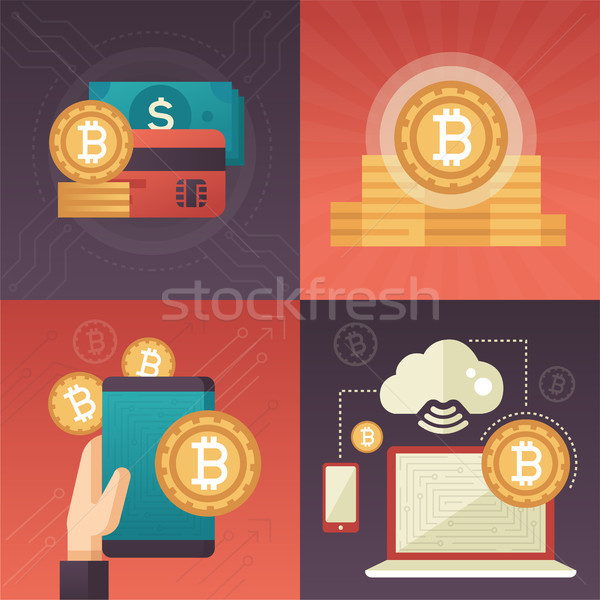 Cryptocurrency - set of colorful flat design style infographics elements Stock photo © Decorwithme