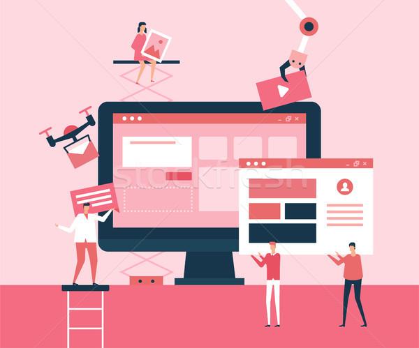 Desktop application - flat design style illustration Stock photo © Decorwithme