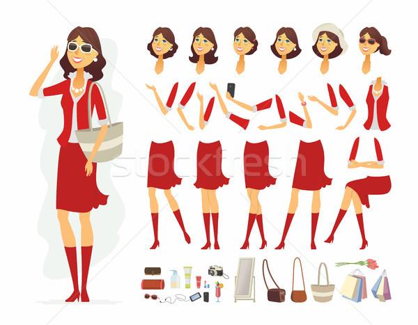 Divatos nő vektor rajzolt emberek karakter izolált Stock fotó © Decorwithme