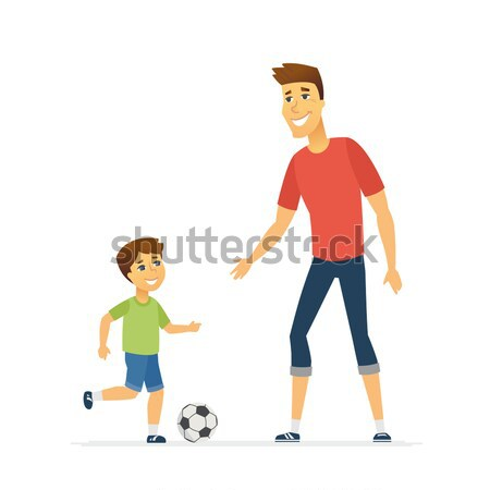 Father and son playing football - cartoon people characters illustration Stock photo © Decorwithme
