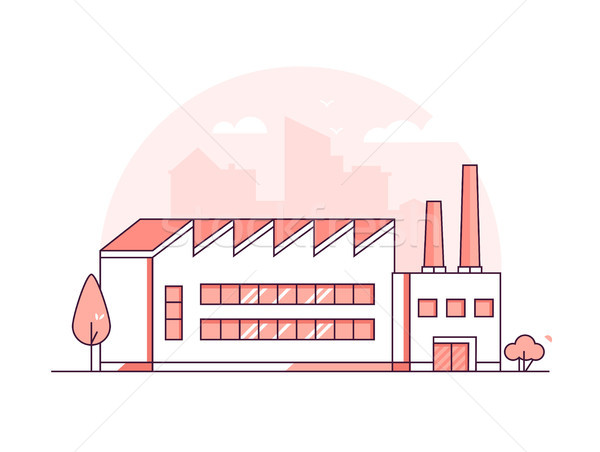Industrial building - modern thin line design style vector illustration Stock photo © Decorwithme