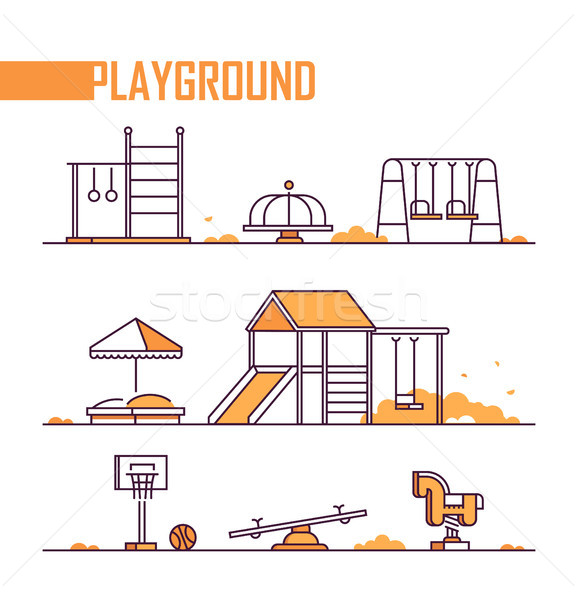 Set of playground elements - modern vector isolated objects Stock photo © Decorwithme