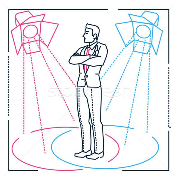 Biznesmen line projektu stylu ilustracja biały Zdjęcia stock © Decorwithme