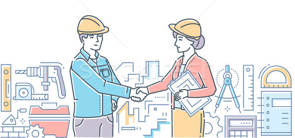 Construction firm - colorful line design style illustration Stock photo © Decorwithme
