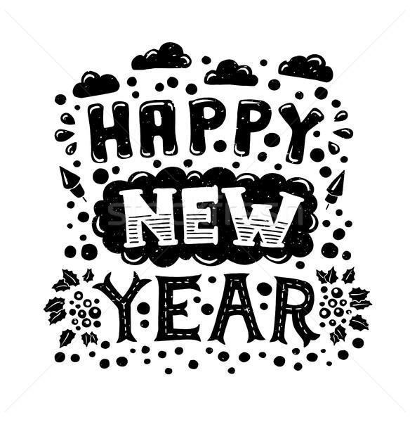 Happy New Year Vintage Poster vector illustration © Ilia Boiko ...