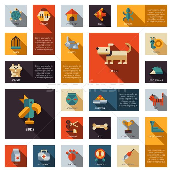 Set of flat design pet shop icons Stock photo © Decorwithme