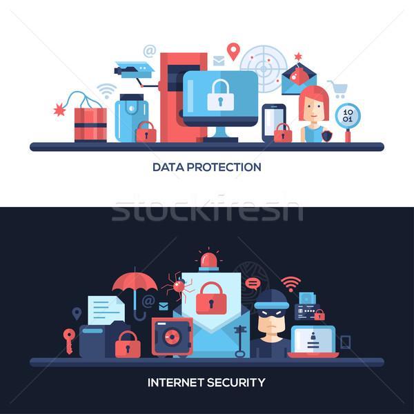 Projeto site segurança de dados banners conjunto dados Foto stock © Decorwithme