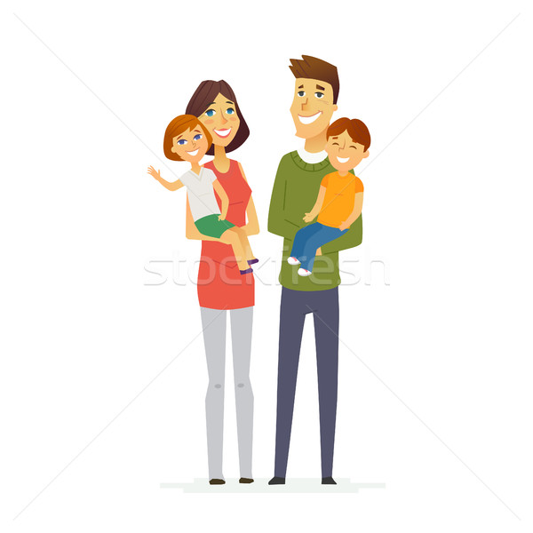Family - colored modern flat illustration composition. Stock photo © Decorwithme