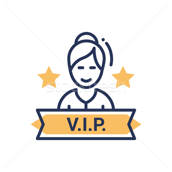 VIP person - modern vector single line icon Stock photo © Decorwithme