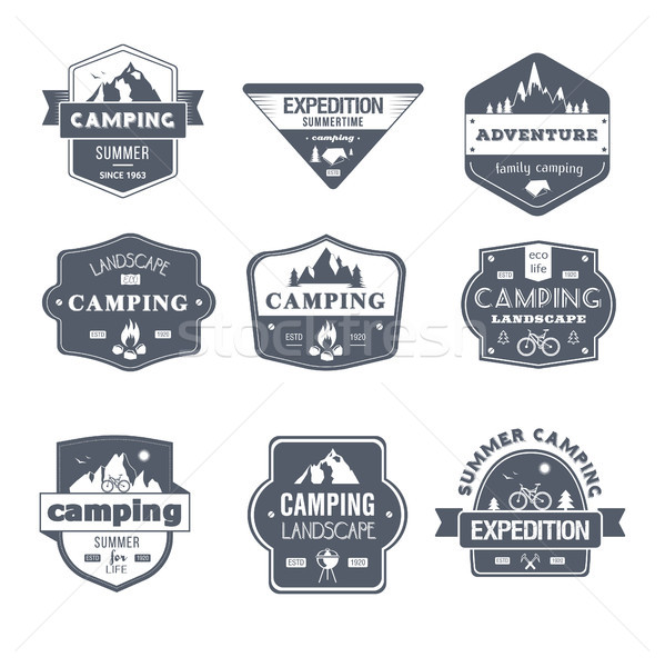 Camping Activity - vintage vector set of logos Stock photo © Decorwithme