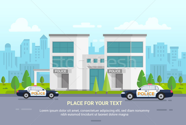 City police station on urban background - modern vector illustration Stock photo © Decorwithme