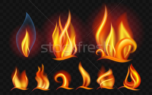 Set of flames - modern vector realistic isolated clip art Stock photo © Decorwithme