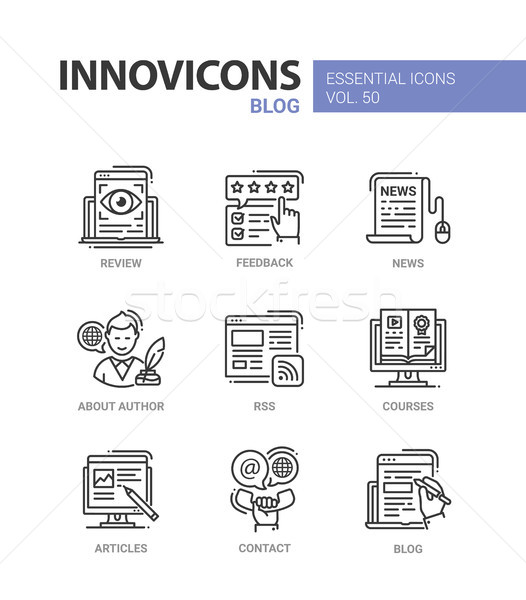 Blog - modern vector line design icons set Stock photo © Decorwithme