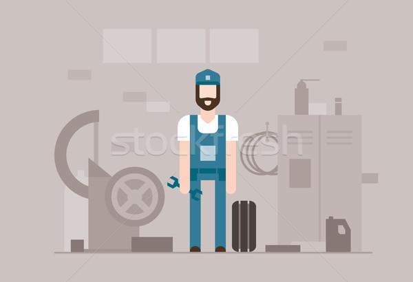 Motor mechanic at work - modern flat design style illustration Stock photo © Decorwithme