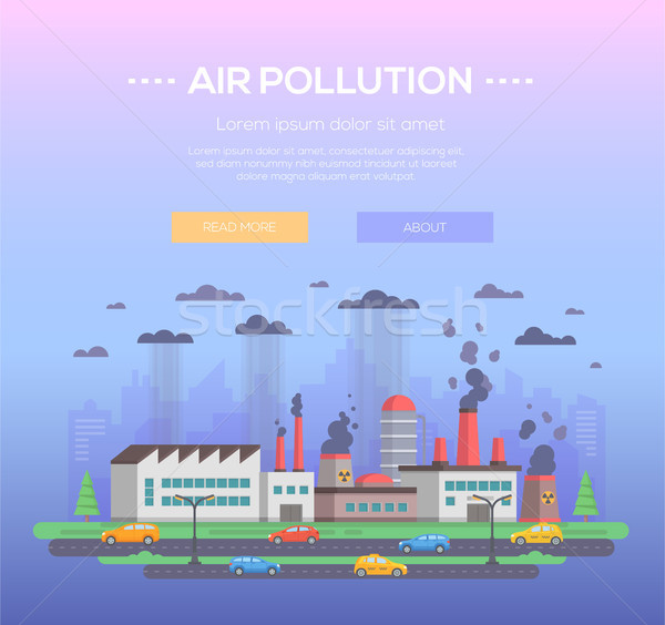 Levegő szennyezés modern terv stílus kék Stock fotó © Decorwithme