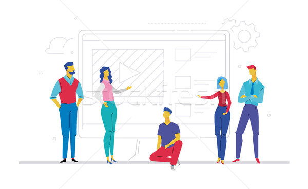 Business team presenting a website - flat design style colorful illustration Stock photo © Decorwithme