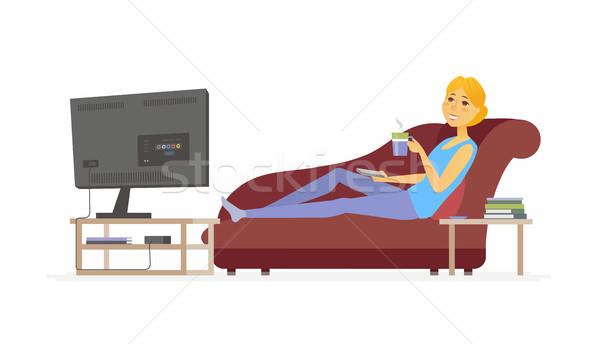 Nő néz tv rajzolt emberek karakter izolált Stock fotó © Decorwithme
