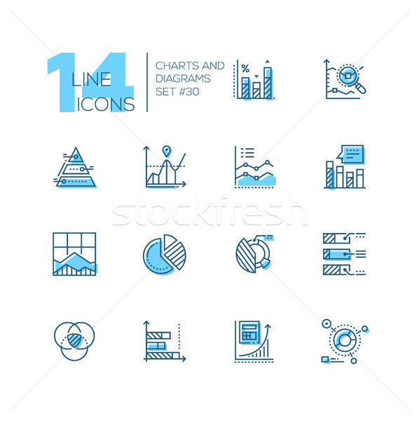 Charts and diagrams - set of line design style icons Stock photo © Decorwithme