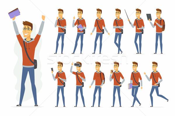 Modern diák vektor rajzolt emberek karakter szett Stock fotó © Decorwithme