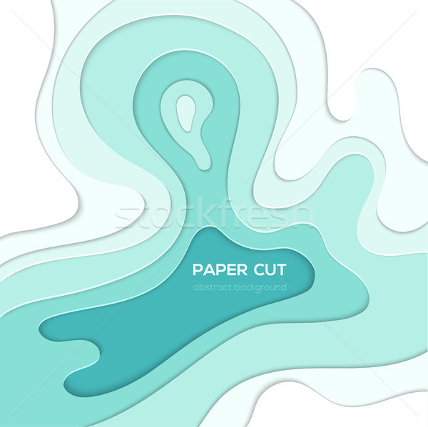 Blauw abstract lay-out vector papier gesneden Stockfoto © Decorwithme