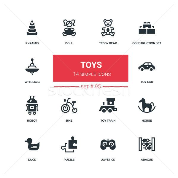 Toys - flat design style icons set Stock photo © Decorwithme