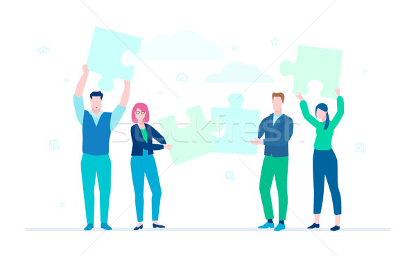 Business team doing a puzzle - flat design style colorful illustration Stock photo © Decorwithme