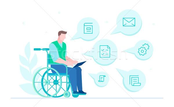 Handicapées travailleur design style illustration blanche Photo stock © Decorwithme