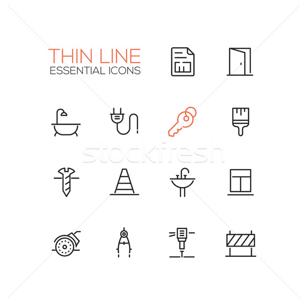 Home, Road Repair - Thin Line Icons Set Stock photo © Decorwithme