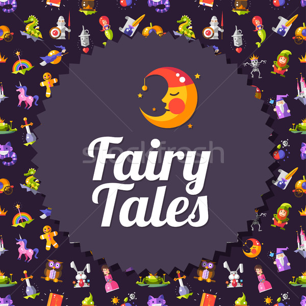 Modern flat design fairy tales and magic flyer template Stock photo © Decorwithme
