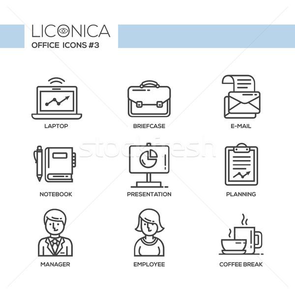 Stockfoto: Moderne · kantoor · business · lijn · ontwerp · iconen